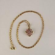 9ct Yellow Gold Sapphire & Diamond Pendant Necklace