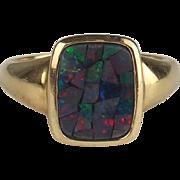 9ct Yellow Gold Opal Ring UK Size M US 6