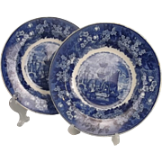 Circa 1830 Pair Of Wedgewood Blue & White Ferrera Pattern Plates
