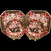 Circa 1895 Set Of 4 Copeland Spode Rare Green Imari Pattern Plates
