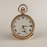 10ct Rose Gold Plated Open Faced Pocket Watch