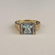 9ct Yellow Gold Topaz & Diamond Ring UK Size O+ US 7 ½
