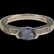 9ct White Gold Amethyst & Diamond Ring UK Size M+ US 6 ½