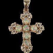 9ct Yellow Gold Fine Fire Opal & Cubic Zirconia Cross Pendant