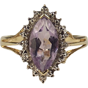 9ct Yellow Gold Amethyst & Diamond Ring UK Size P US 7 ¾