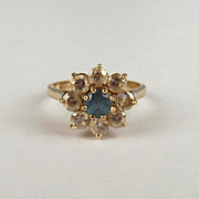 9ct Yellow Gold Aquamarine & Zirconia Flower Head Ring UK Size O+ US 7 ½