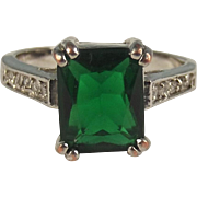 10ct White Gold Russian Diopside & Zirconia Ring UK Size Q US 8 ¼