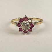 1970 9ct Ruby & Zirconia Flower Head Ring UK Size P+ US 8