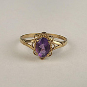 9ct Yellow Gold Amethyst Ring UK Size O+ US 7 ½