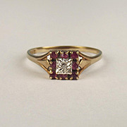 1981 9ct Yellow Gold Diamond & Ruby Ring UK Size Q US 8 ¼
