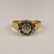 18ct Yellow Gold Diamond & Sapphire Flower Head Ring UK Size M US 6 ¼