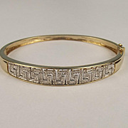 9ct Yellow Gold 0.25 CTW Diamond Greek Key Pattern Bangle