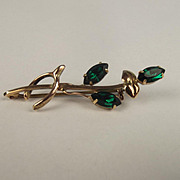 9ct Yellow Gold Russian Diopside Brooch
