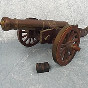 Large Brass And Oak Model Of A G.R. Field Cannon