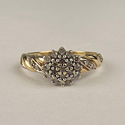 9ct Yellow Gold Diamond Cluster Ring UK Size O US 7 ¼