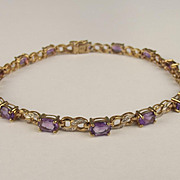 9ct Yellow Gold Amethyst & 0.15CTW Diamond Bracelet