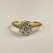 18ct Yellow Gold 0.50 CTW Diamond Flower Head Ring UK Size O US 7 ¼