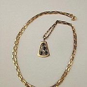 14ct Yellow Gold Sapphire & Diamond Pendant With 9ct Yellow Gold Chain
