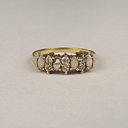 9ct Yellow Gold Opal & Cubic Zirconia Ring UK Size L US 5 ¾