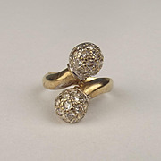 9ct Yellow Gold Cubic Zirconia Torque Ring UK Size M US 6 ¼
