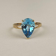 9ct Yellow Gold Topaz Ring UK Size P US 7 ¾