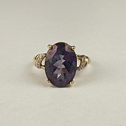 9ct Yellow Gold Purple Topaz & Diamond Ring UK Size P US 7 ¾