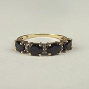 9ct Yellow Gold Sapphire & Diamond Ring UK Size P+ US 8