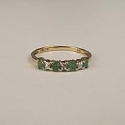 9ct Yellow Gold Emerald & Diamond Ring UK Size P US 7 ¾