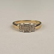 9ct Yellow Gold Diamond Ring UK Size O+ US 7 ½