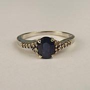 9ct White Gold Sapphire & Diamond Ring UK Size O US 7 ¼