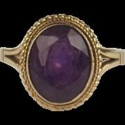1971 9ct Yellow Gold Amethyst Ring UK Size J+ US 5