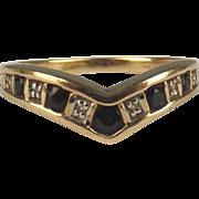 9ct Yellow Gold Sapphire & Diamond Wishbone Ring UK Size P US 7 ¾