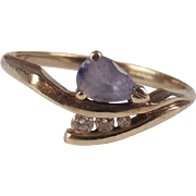 9ct White Gold Amethyst & Diamond Ring UK Size O+ US 7 ½