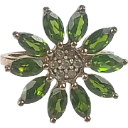 9ct Yellow Gold Russian Diopside & Diamond Flower Head Ring UK Size N+ US 7