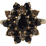 9ct Yellow Gold Sapphire & Diamond Cluster Ring UK Size M US 6 ¼
