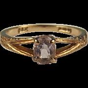 1978 9ct Yellow Gold Amethyst Ring UK Size M+ US 6 ½