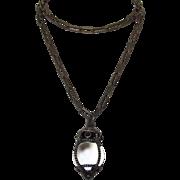 Vintage Large Orb Rock Quarts Pools of Light Sterling Pendant Necklace