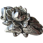 Vintage Danecraft Sterling Brooch Water Lily Pad Lotus Flower Blossom circa 1930s Solid Qualit