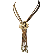 Fabulous Vintage Multi Chain Necklace Tassels in Gold Tone Metal Great STYLE