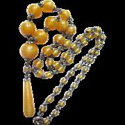 Gorgeous Art Deco Czech Opalescent Swirl Glass Bead Flapper Necklace Honey Yellow Amber Long