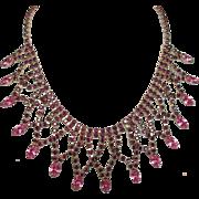 SALE Fabulous Vintage Festoon Bib Style Necklace Faux Amethyst & Pink Rhinestones Goldtone ...