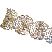 Exquisite Vintage Gilt Lace Trim Long 5 yard Length Fancy Scallops