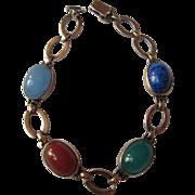 Vintage Sterling Silver + 14K Gold Bracelet Semiprecious Stones Lapis Carnelian Chrysophase ..
