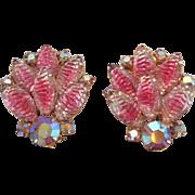 Gorgeous Vintage Pink Givre & Aurora Borealis Rhinestone Clip Back Earrings Stunning Sparkle 5