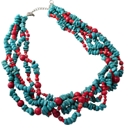 Gorgeous Vintage Sterling Silver Turquoise Coral 5 Strands Necklace LUC 925 CN Southwestern