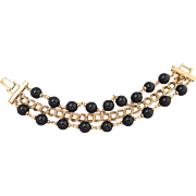 "Stylish Vintage NAPIER triple strand Bracelet 8"" Black Gold Finish Links PAT #"