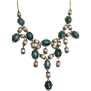 Gorgeous Vintage Festoon Bib Sytle Necklace Green Glass Cabochons Faux Pearls