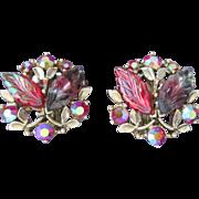 Luscious BSK Vintage Clip Earrings Givre Glass Aurora Borealis Designer Signed Raspberry Color