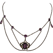 Exquisite Edwardian Festoon Necklace Amethyst Glass in Gold Plated circa 1910
