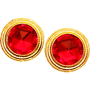 SALE Ben-Amun Byzantine Style Faceted Czech Glass Button Earrings